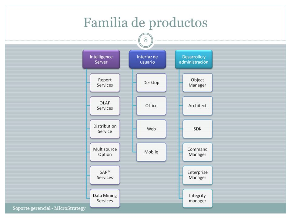Familia de productos Soporte gerencial - MicroStrategy