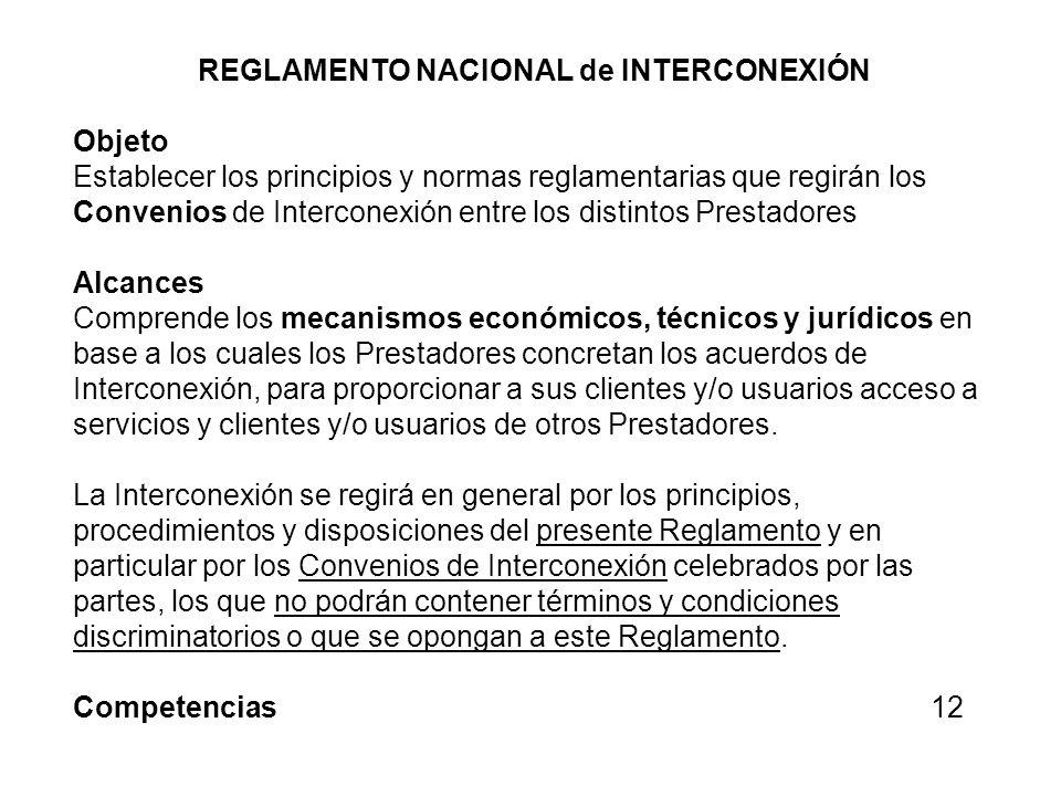REGLAMENTO NACIONAL de INTERCONEXIÓN
