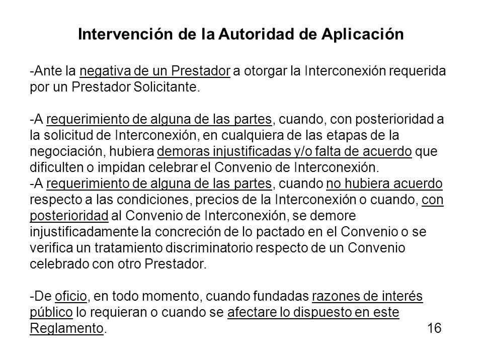 Intervención de la Autoridad de Aplicación