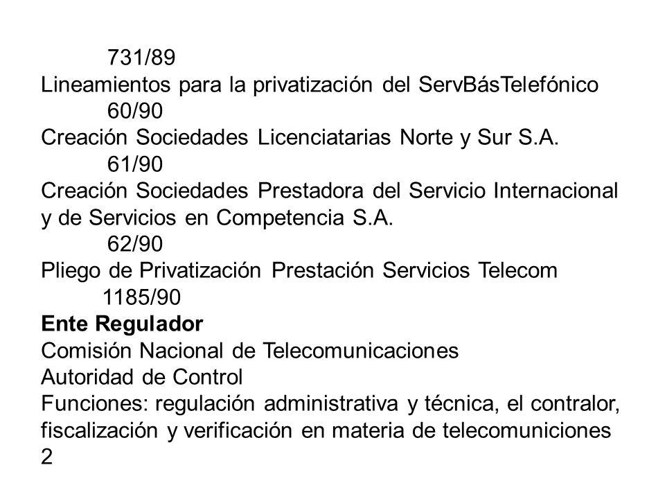 731/89 Lineamientos para la privatización del ServBásTelefónico. 60/90. Creación Sociedades Licenciatarias Norte y Sur S.A.