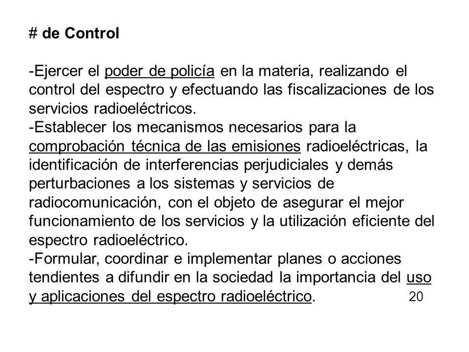 # de Control