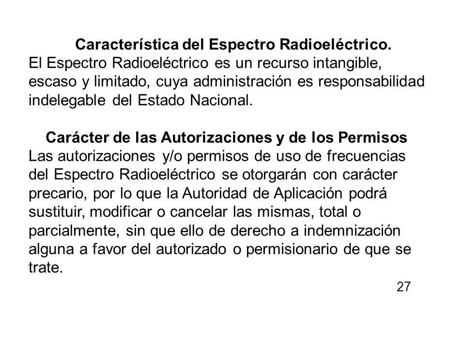 Característica del Espectro Radioeléctrico.