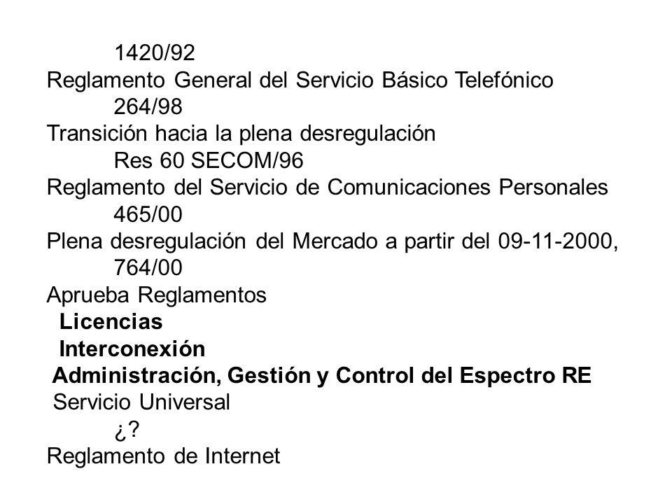1420/92 Reglamento General del Servicio Básico Telefónico. 264/98. Transición hacia la plena desregulación.