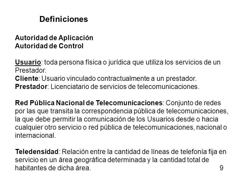 Definiciones Autoridad de Aplicación. Autoridad de Control. Usuario: toda persona física o jurídica que utiliza los servicios de un Prestador.