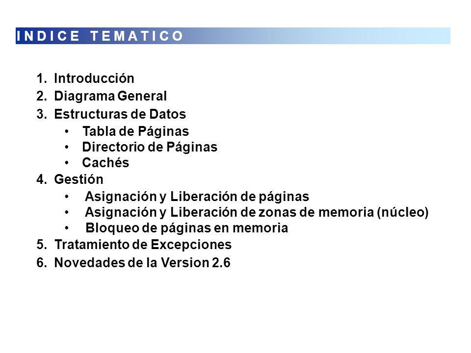 I N D I C E T E M A T I C O Introducción. Diagrama General. Estructuras de Datos. Tabla de Páginas.