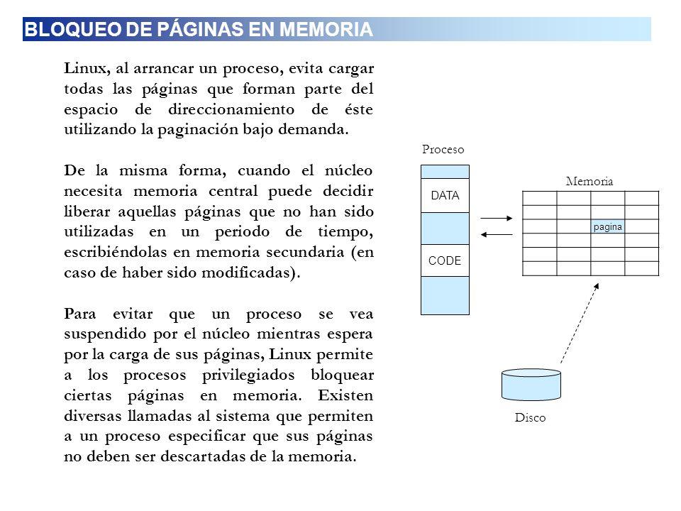 BLOQUEO DE PÁGINAS EN MEMORIA