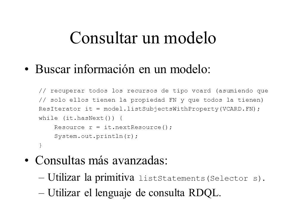 Consultar un modelo Buscar información en un modelo: