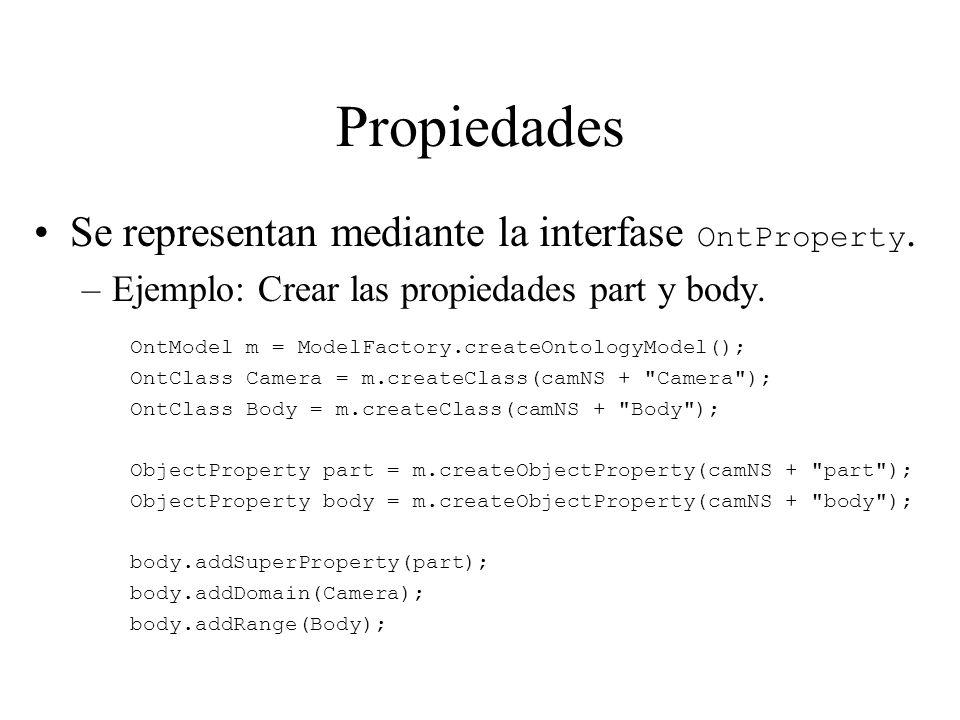 Propiedades Se representan mediante la interfase OntProperty.