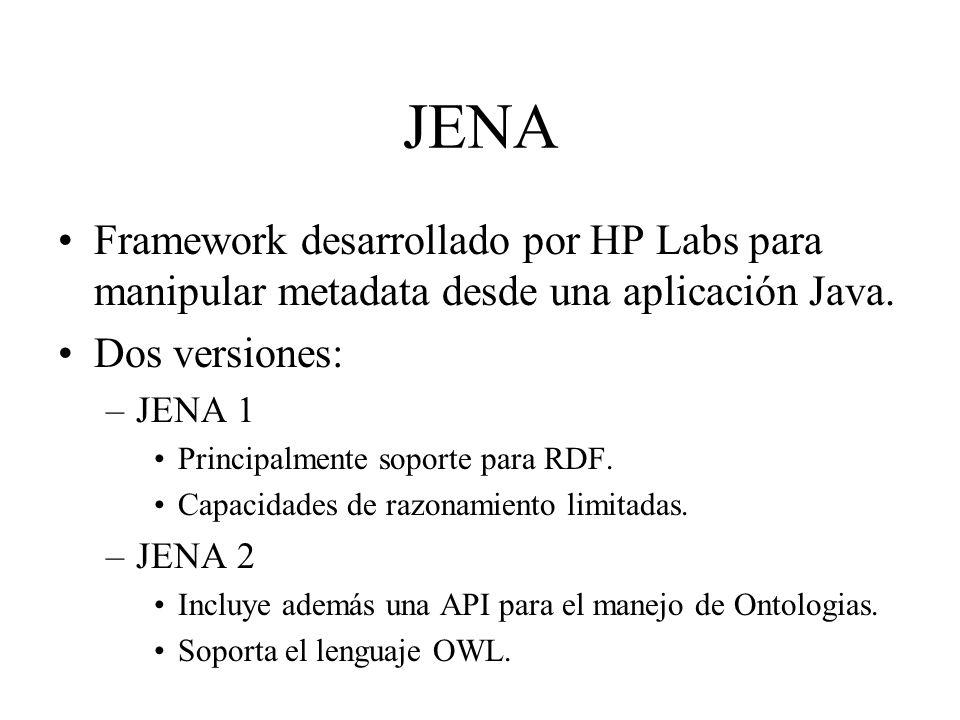 JENA Framework desarrollado por HP Labs para manipular metadata desde una aplicación Java. Dos versiones: