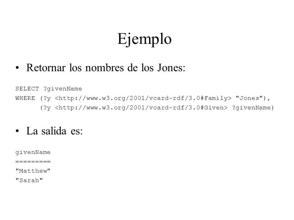 Ejemplo Retornar los nombres de los Jones: La salida es: