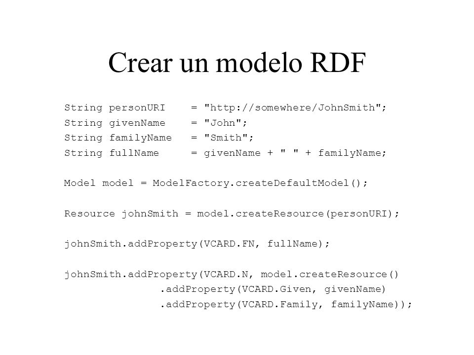 Crear un modelo RDF String personURI = http://somewhere/JohnSmith ;
