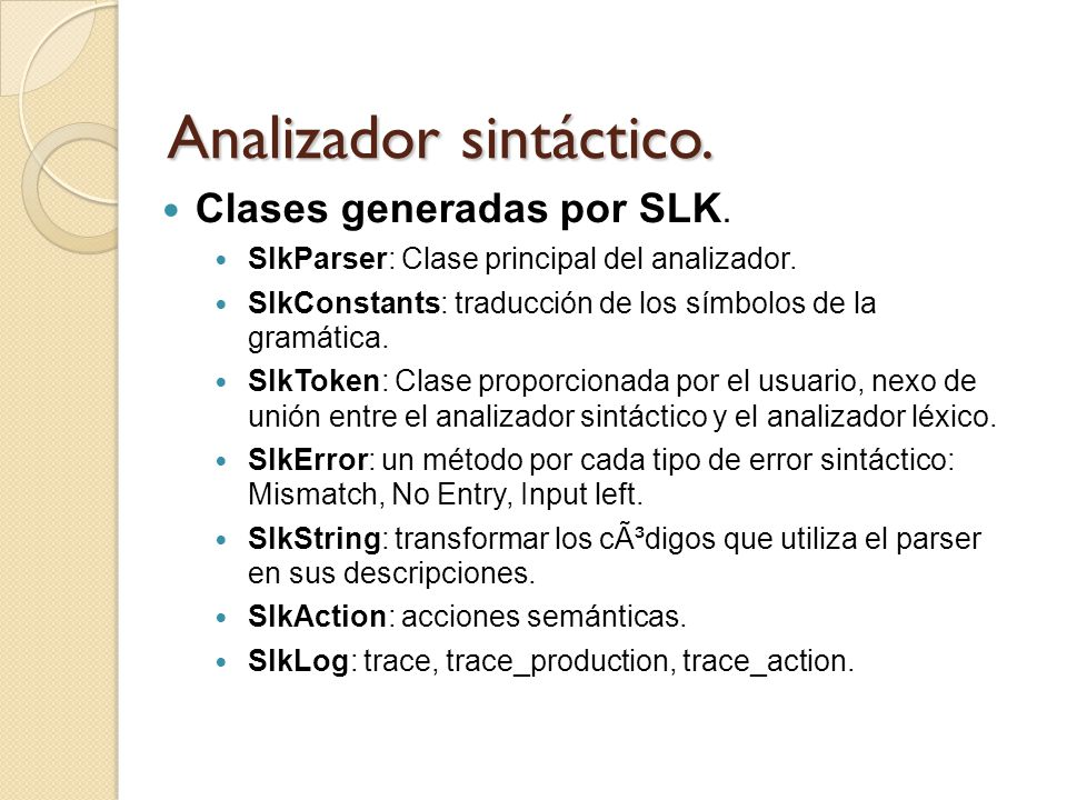 Analizador sintáctico.
