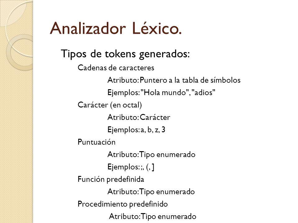 Analizador Léxico. Tipos de tokens generados: Cadenas de caracteres