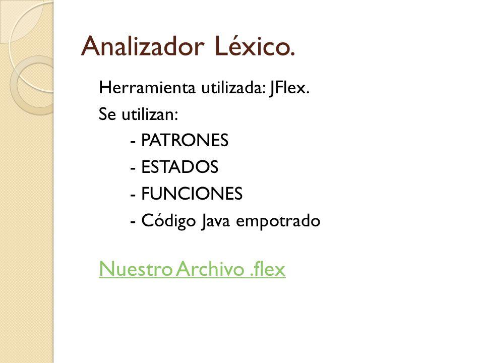 Analizador Léxico. Nuestro Archivo .flex Herramienta utilizada: JFlex.