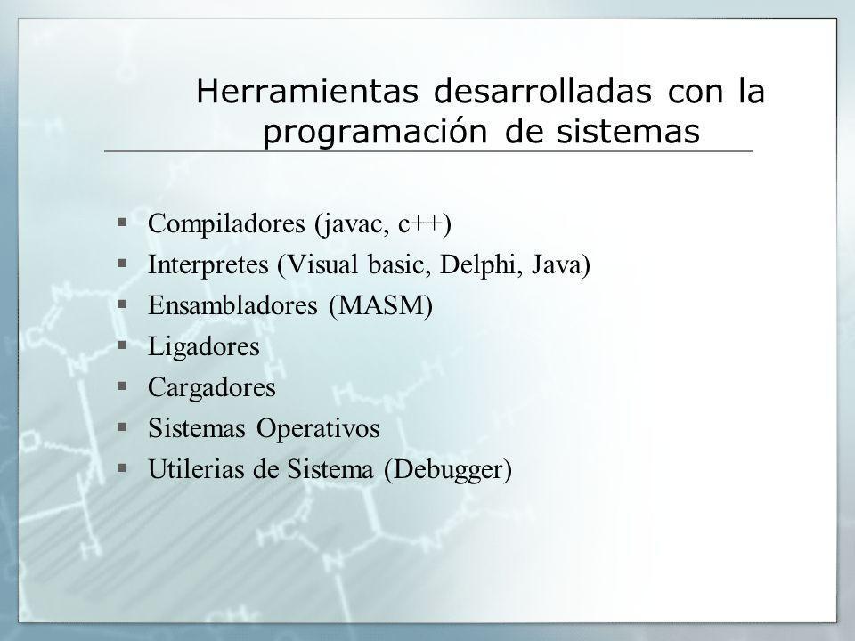 Herramientas desarrolladas con la programación de sistemas