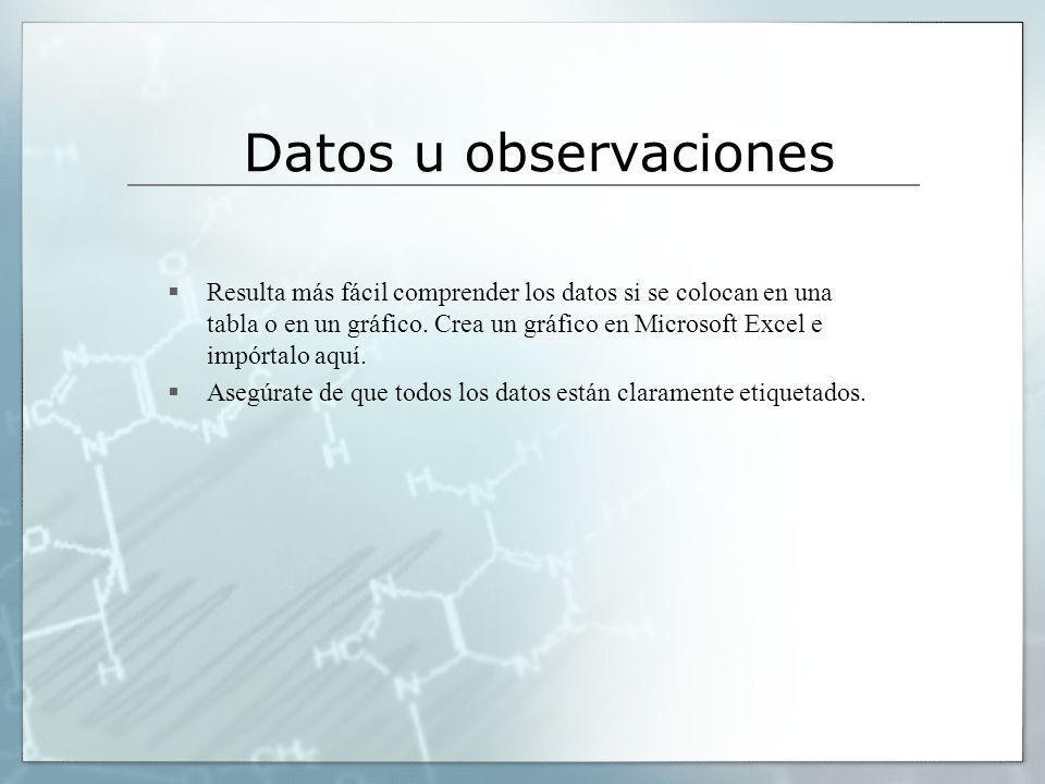 Datos u observaciones