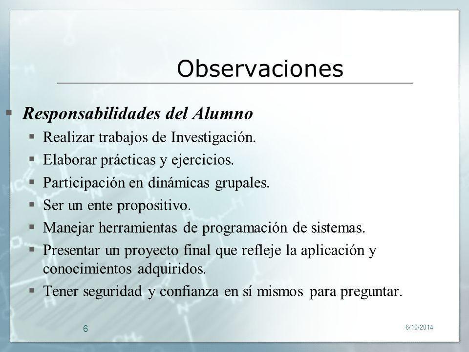 Observaciones Responsabilidades del Alumno