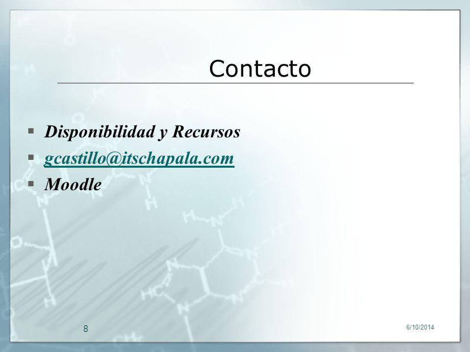 Contacto Disponibilidad y Recursos gcastillo@itschapala.com Moodle