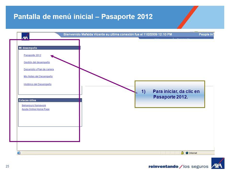 Pantalla de menú inicial – Pasaporte 2012