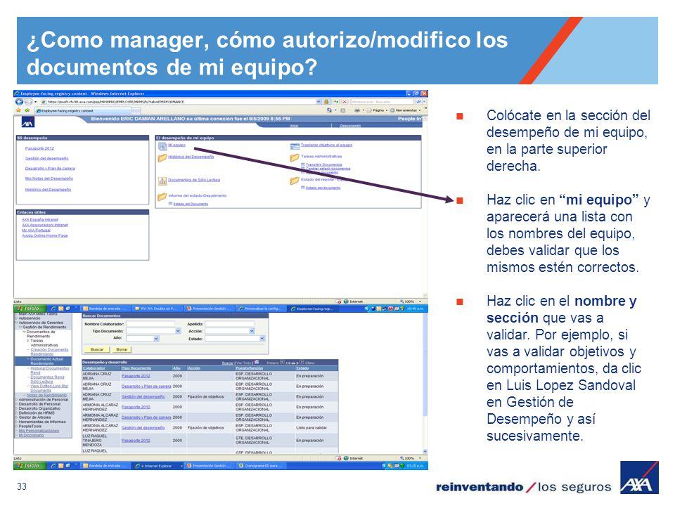 ¿Como manager, cómo autorizo/modifico los documentos de mi equipo