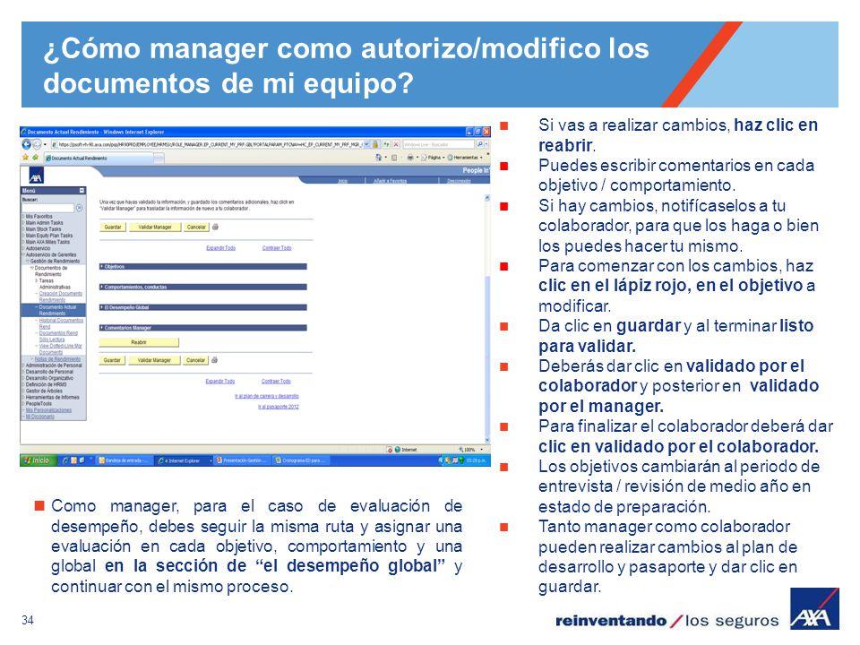 ¿Cómo manager como autorizo/modifico los documentos de mi equipo