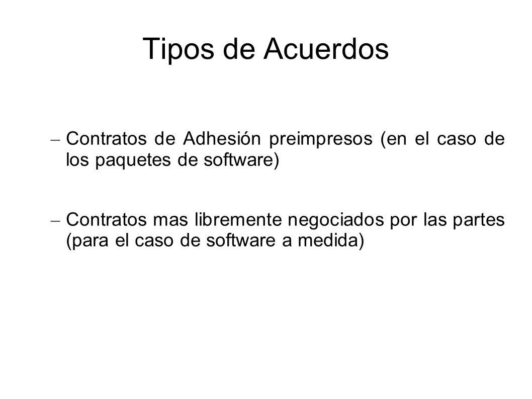 Tipos de Acuerdos Contratos de Adhesión preimpresos (en el caso de los paquetes de software)