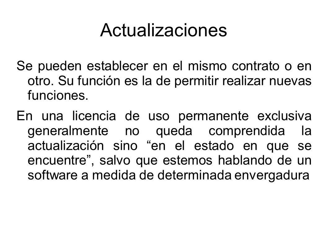 Actualizaciones Se pueden establecer en el mismo contrato o en otro. Su función es la de permitir realizar nuevas funciones.