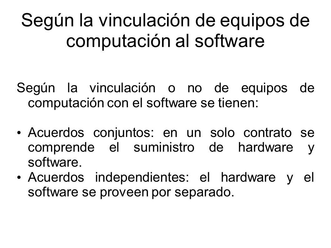 Según la vinculación de equipos de computación al software