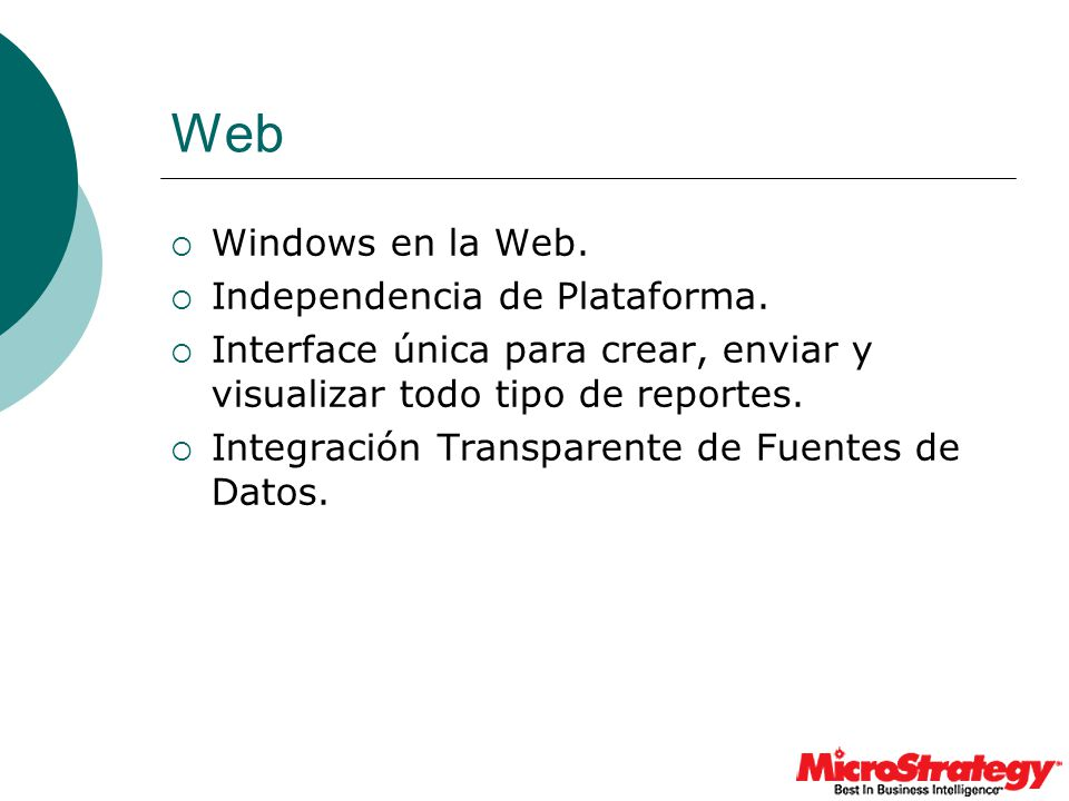 Web Windows en la Web. Independencia de Plataforma.