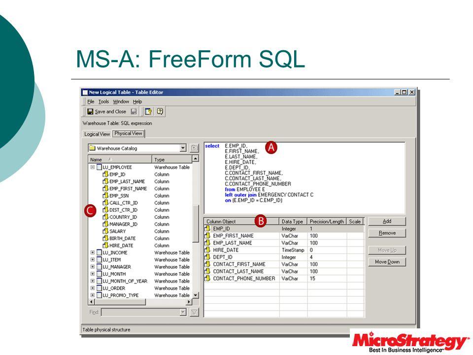 MS-A: FreeForm SQL