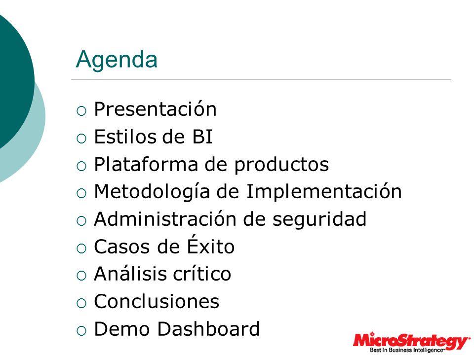 Agenda Presentación Estilos de BI Plataforma de productos