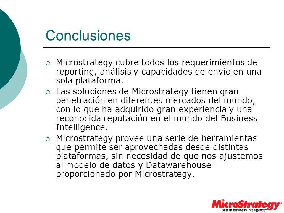Conclusiones Microstrategy cubre todos los requerimientos de reporting, análisis y capacidades de envío en una sola plataforma.
