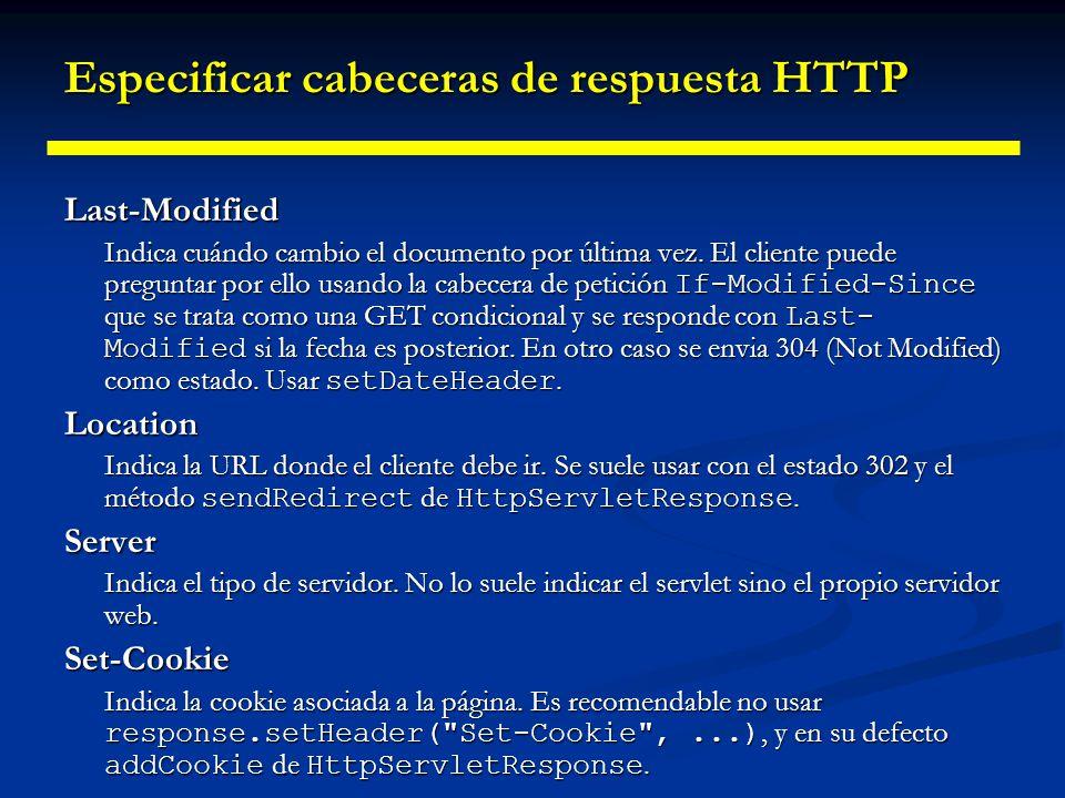 Especificar cabeceras de respuesta HTTP