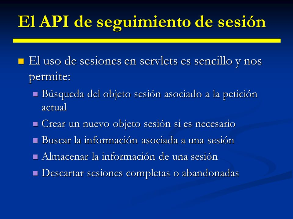 El API de seguimiento de sesión