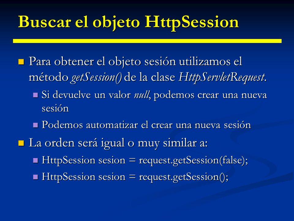 Buscar el objeto HttpSession