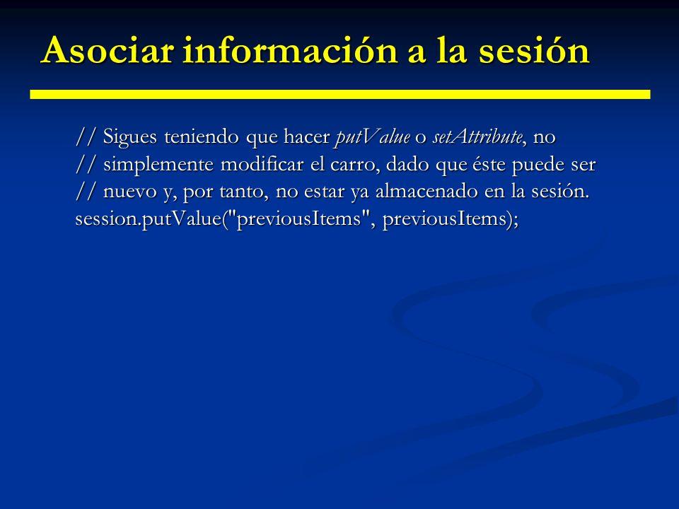 Asociar información a la sesión