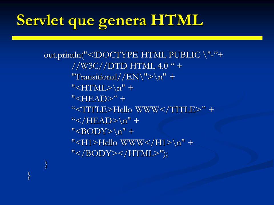 Servlet que genera HTML