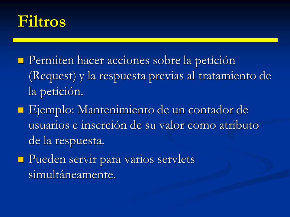 Filtros Permiten hacer acciones sobre la petición (Request) y la respuesta previas al tratamiento de la petición.