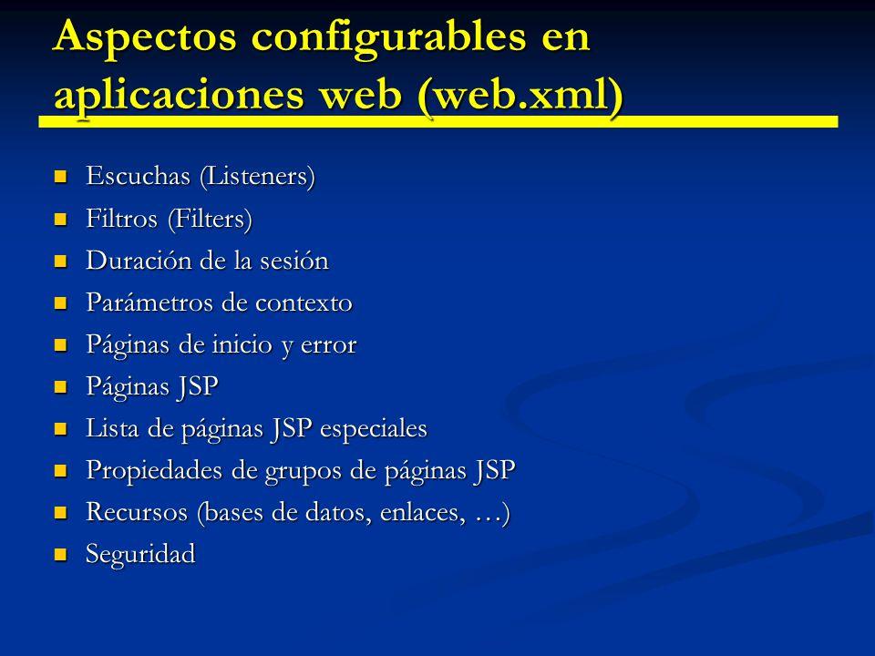 Aspectos configurables en aplicaciones web (web.xml)