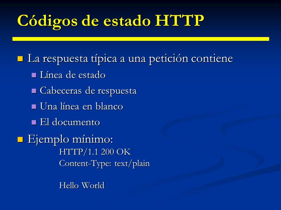 Códigos de estado HTTP La respuesta típica a una petición contiene