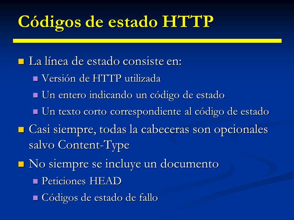 Códigos de estado HTTP La línea de estado consiste en: