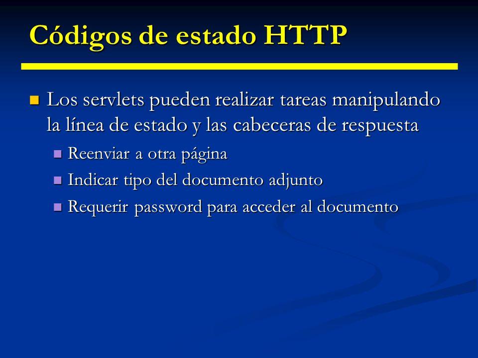 Códigos de estado HTTP Los servlets pueden realizar tareas manipulando la línea de estado y las cabeceras de respuesta.