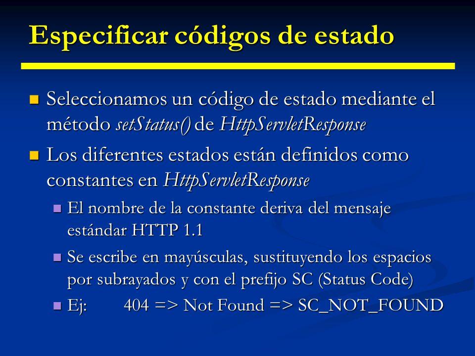 Especificar códigos de estado