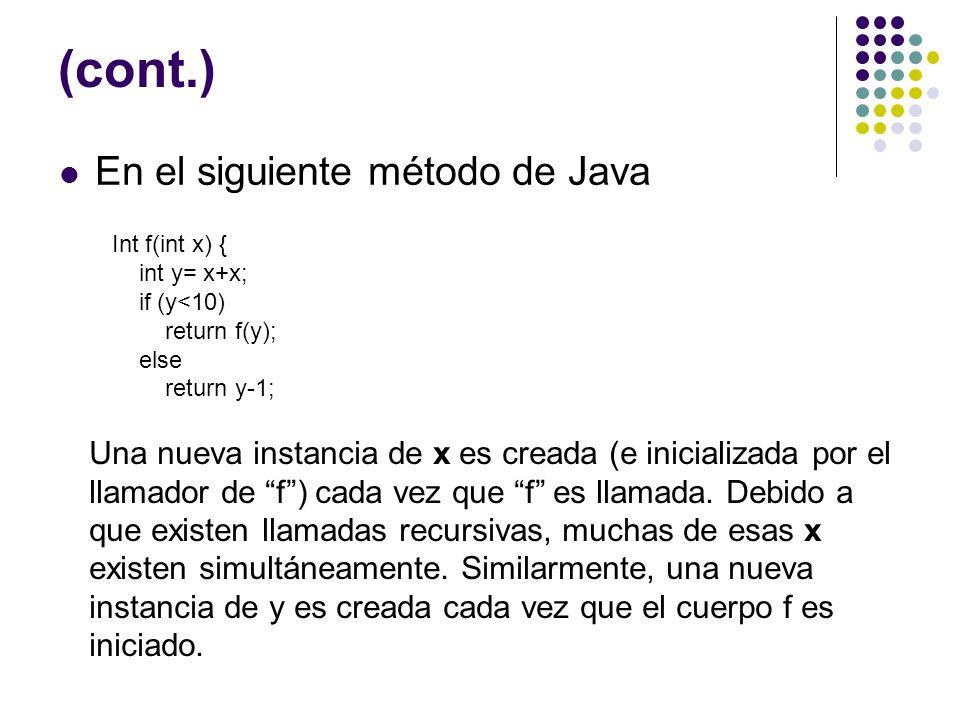 (cont.) En el siguiente método de Java