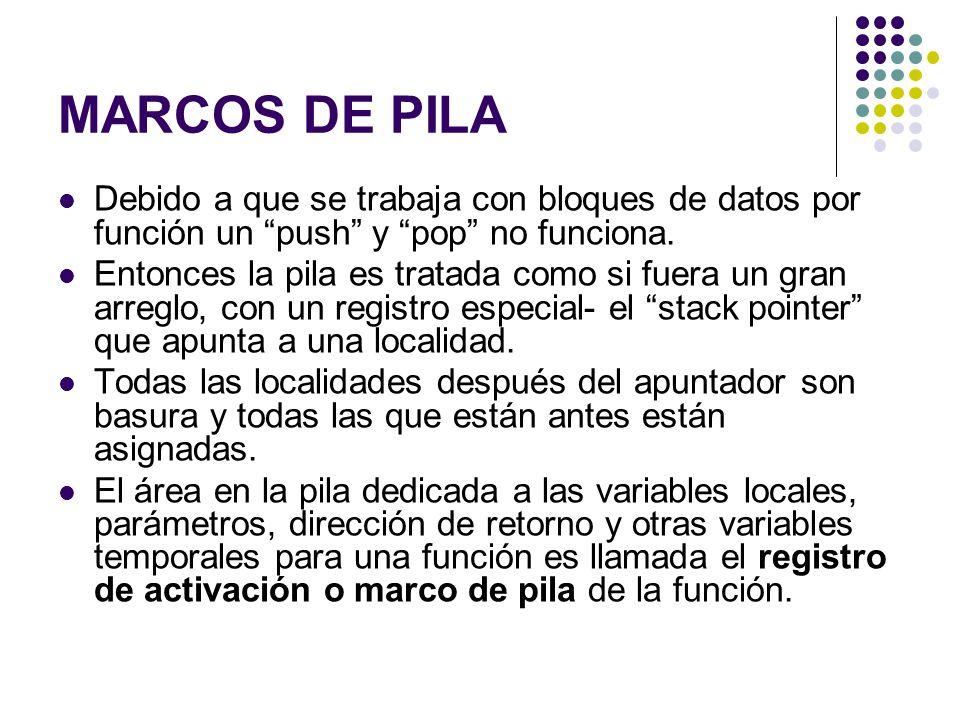 MARCOS DE PILA Debido a que se trabaja con bloques de datos por función un push y pop no funciona.