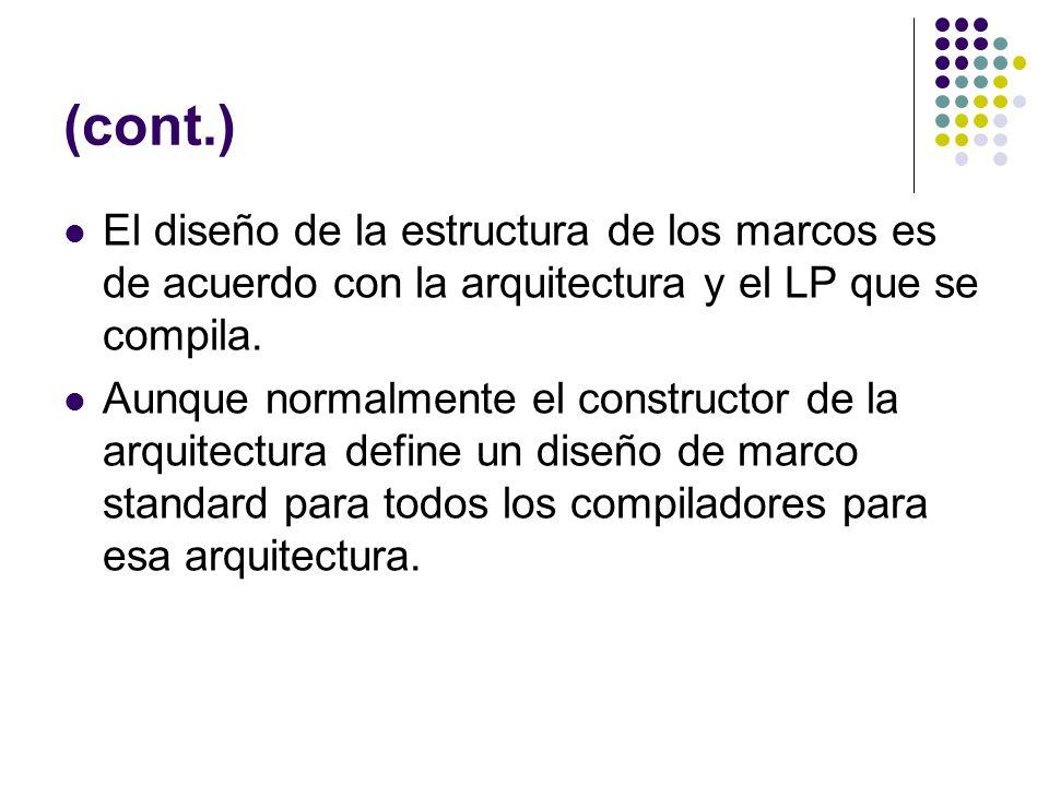 (cont.) El diseño de la estructura de los marcos es de acuerdo con la arquitectura y el LP que se compila.