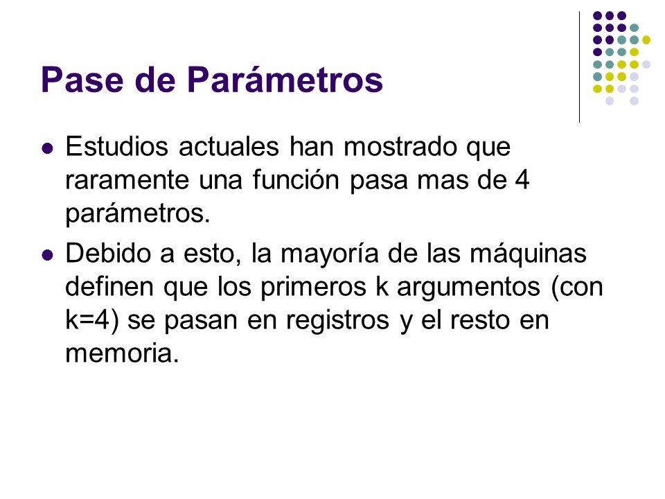 Pase de Parámetros Estudios actuales han mostrado que raramente una función pasa mas de 4 parámetros.