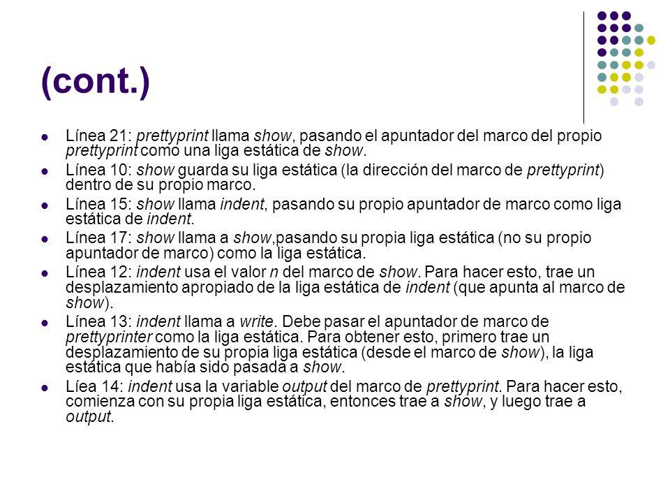 (cont.) Línea 21: prettyprint llama show, pasando el apuntador del marco del propio prettyprint como una liga estática de show.