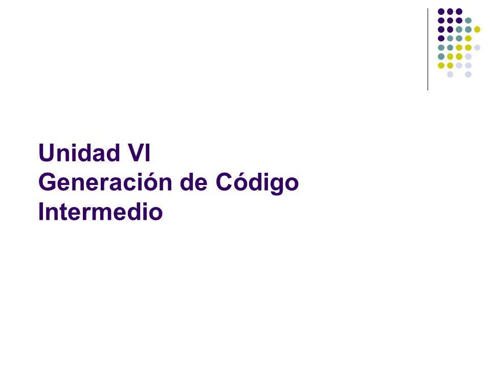 Unidad VI Generación de Código Intermedio