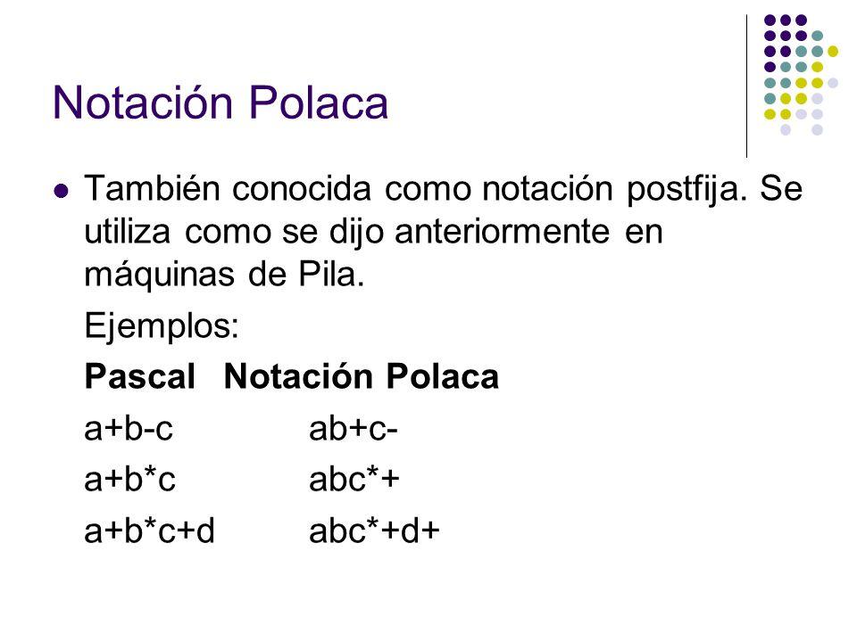 Notación Polaca También conocida como notación postfija. Se utiliza como se dijo anteriormente en máquinas de Pila.